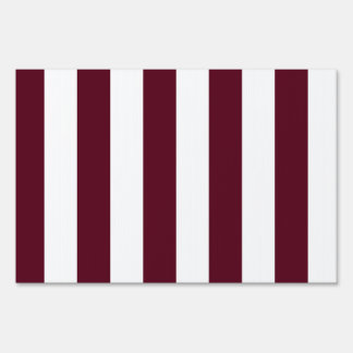 Stripes - White and Dark Scarlet Signs
