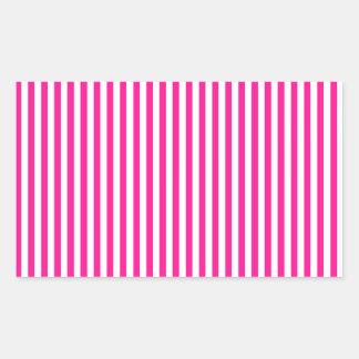 Stripes - White and Deep Pink Rectangular Sticker