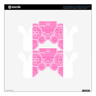 Stripes - White and Deep Pink Decal For PS3 Controller