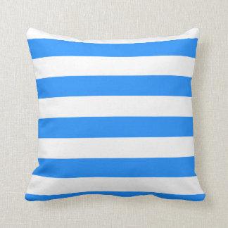 Stripes - White and Dodger Blue Pillow