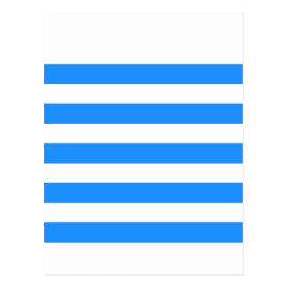 Stripes - White and Dodger Blue Postcard