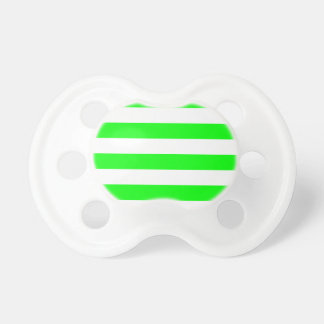 Stripes - White and Electric Green Pacifier