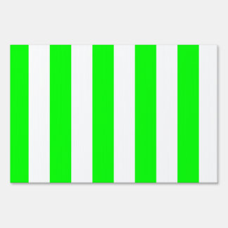 Stripes - White and Electric Green Yard Signs