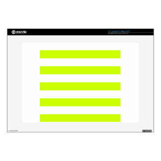 "Stripes - White and Fluorescent Yellow Decals For 15"" Laptops"