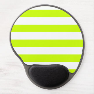 Stripes - White and Fluorescent Yellow Gel Mouse Pad