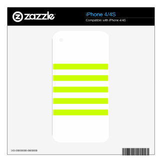 Stripes - White and Fluorescent Yellow iPhone 4S Skins
