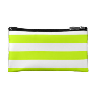 Stripes - White and Fluorescent Yellow Makeup Bag