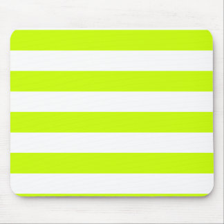 Stripes - White and Fluorescent Yellow Mouse Pads