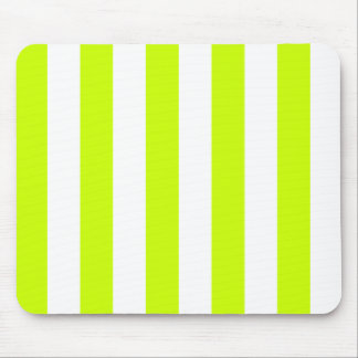 Stripes - White and Fluorescent Yellow Mousepads