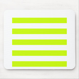 Stripes - White and Fluorescent Yellow Mouse Pad