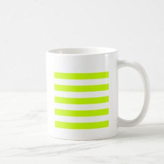 Stripes - White and Fluorescent Yellow Classic White Coffee Mug
