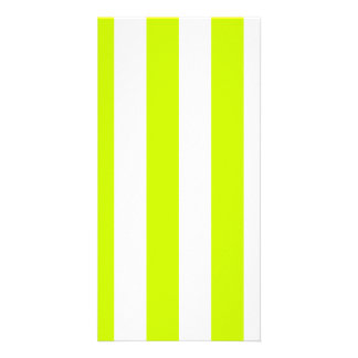 Stripes - White and Fluorescent Yellow Photo Card Template