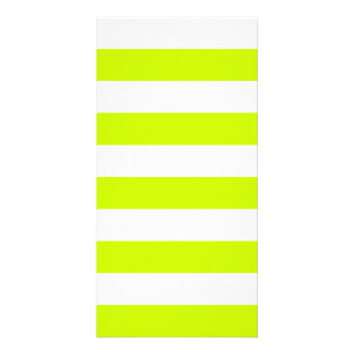 Stripes - White and Fluorescent Yellow Picture Card