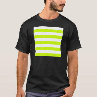 Stripes - White and Fluorescent Yellow T-Shirt
