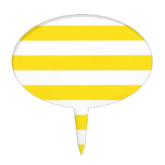 Stripes - White and Golden Yellow Cake Topper