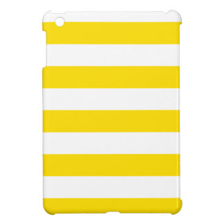 Stripes - White and Golden Yellow Case For The iPad Mini