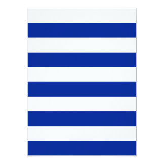 "Stripes - White and Imperial Blue 5.5"" X 7.5"" Invitation Card"