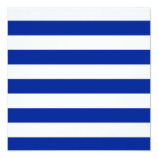 Stripes - White and Imperial Blue 5.25x5.25 Square Paper Invitation Card