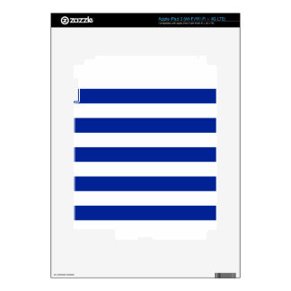 Stripes - White and Imperial Blue iPad 3 Decal