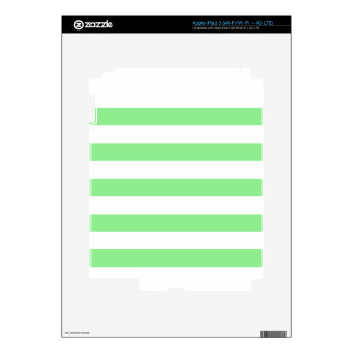 Stripes - White and Light Green iPad 3 Skin