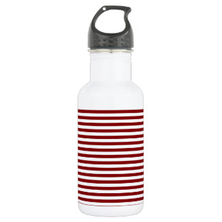 Stripes - White and Maroon 18oz Water Bottle