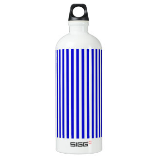 Stripes - White and Medium Blue Water Bottle