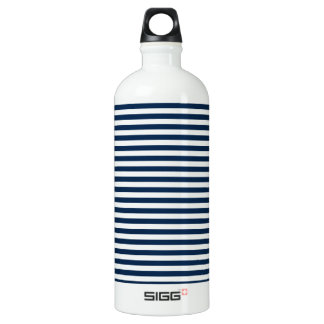 Stripes - White and Oxford Blue Aluminum Water Bottle
