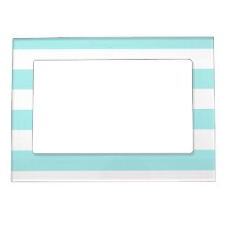 Stripes - White and Pale Blue Magnetic Frame
