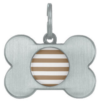 Stripes - White and Pale Brown Pet Name Tag
