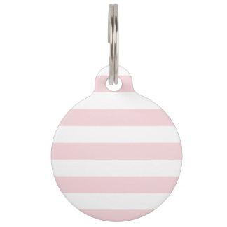 Stripes - White and Pale Pink Pet Nametag