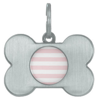 Stripes - White and Pale Pink Pet Name Tag