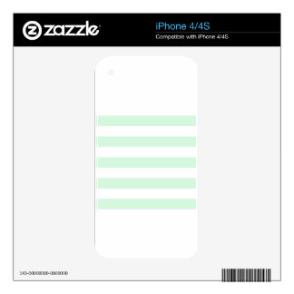 Stripes - White and Pastel Green iPhone 4S Skin