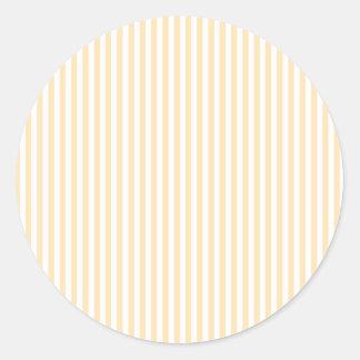 Stripes - White and Peach Classic Round Sticker