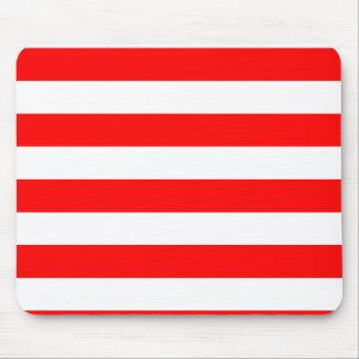 Stripes - White and Red Mouse Pad
