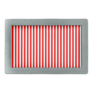 Stripes - White and Red Rectangular Belt Buckle