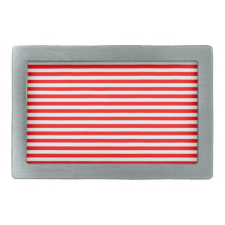 Stripes - White and Red Rectangular Belt Buckles