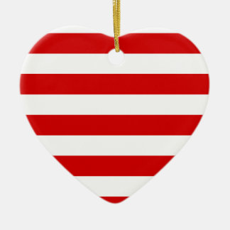 Stripes - White and Rosso Corsa Ceramic Ornament