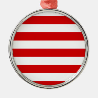Stripes - White and Rosso Corsa Metal Ornament