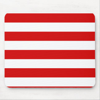 Stripes - White and Rosso Corsa Mouse Pad