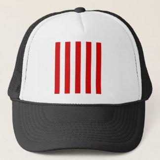 Stripes - White and Rosso Corsa Trucker Hat