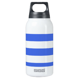 Stripes - White and Royal Blue Insulated Water Bottle