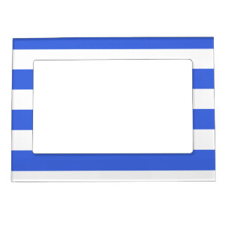 Stripes - White and Royal Blue Magnetic Photo Frame