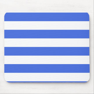 Stripes - White and Royal Blue Mouse Pad