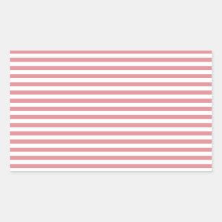 Stripes - White and Ruddy Pink Rectangular Sticker