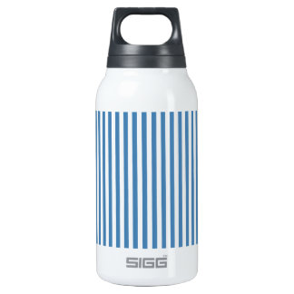 Stripes - White and Steel Blue Insulated Water Bottle