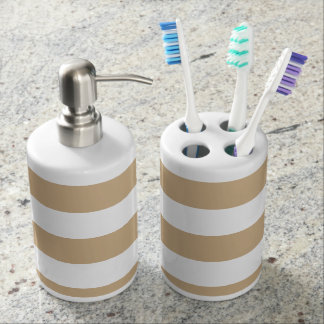 Stripes - White and Tan Brown Soap Dispenser And Toothbrush Holder