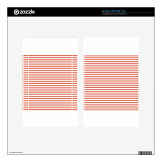 Stripes - White and Terra Cotta Skins For Kindle Fire