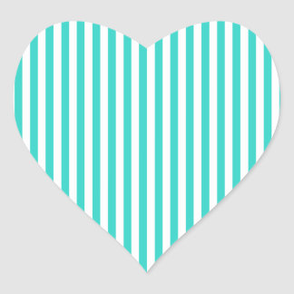Stripes - White and Turquoise Heart Sticker
