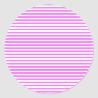 Stripes - White and Ultra Pink Classic Round Sticker