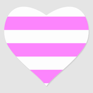 Stripes - White and Ultra Pink Heart Sticker